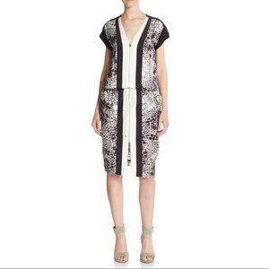 Black ivory Graphic Croc Print Colorblocked Dress